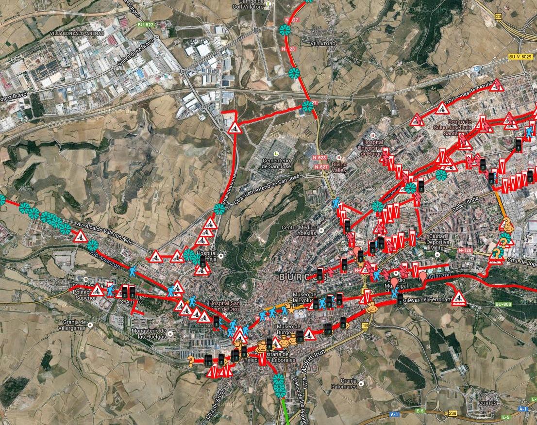 Mapa Burgos señalización errónea bici
