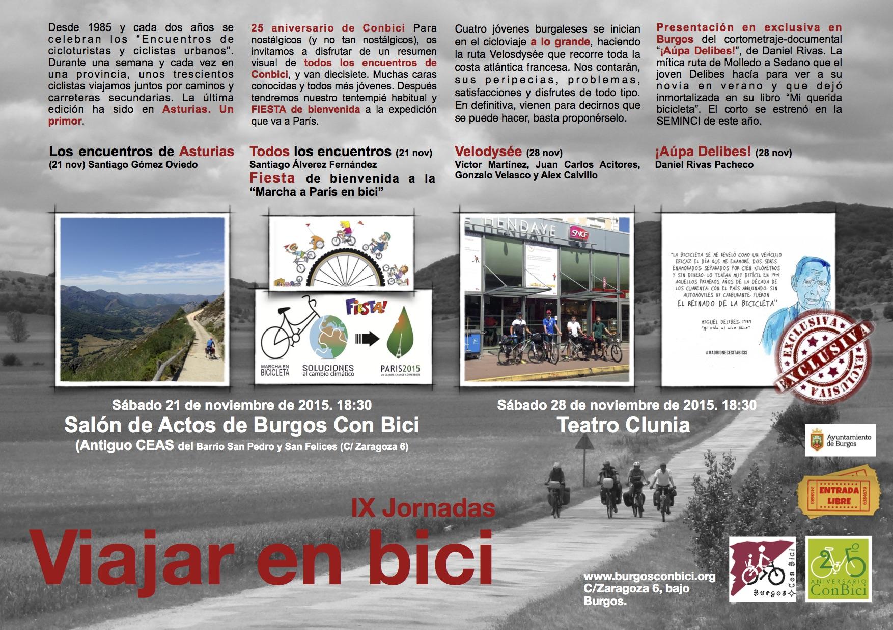 IX Jornadas Viajar en bici. Cartel... 2015