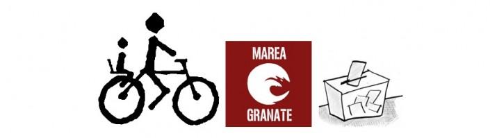 A votar en bici. Marea granate