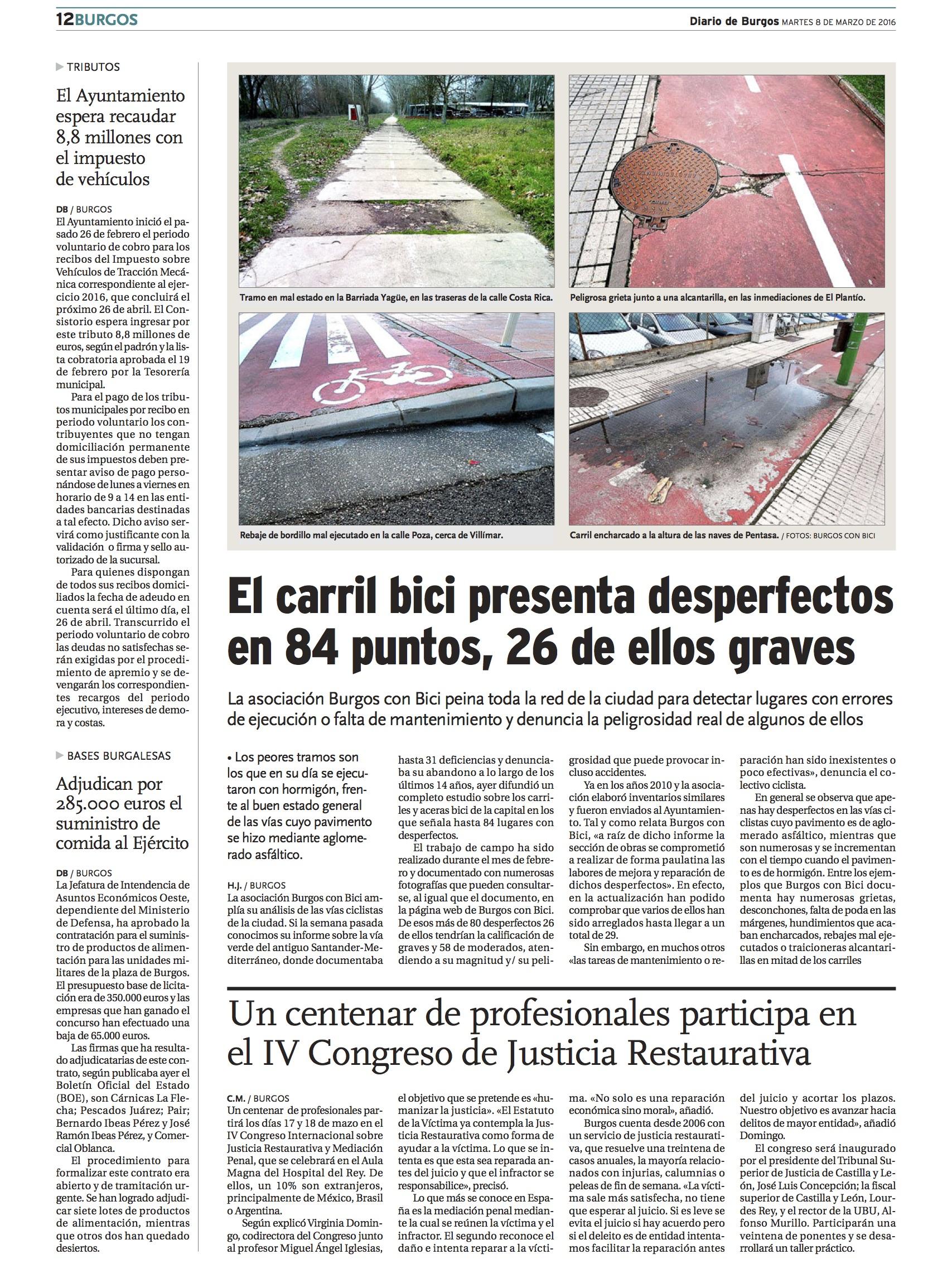 Artículo Diario de burgos Desperfectos carril bici