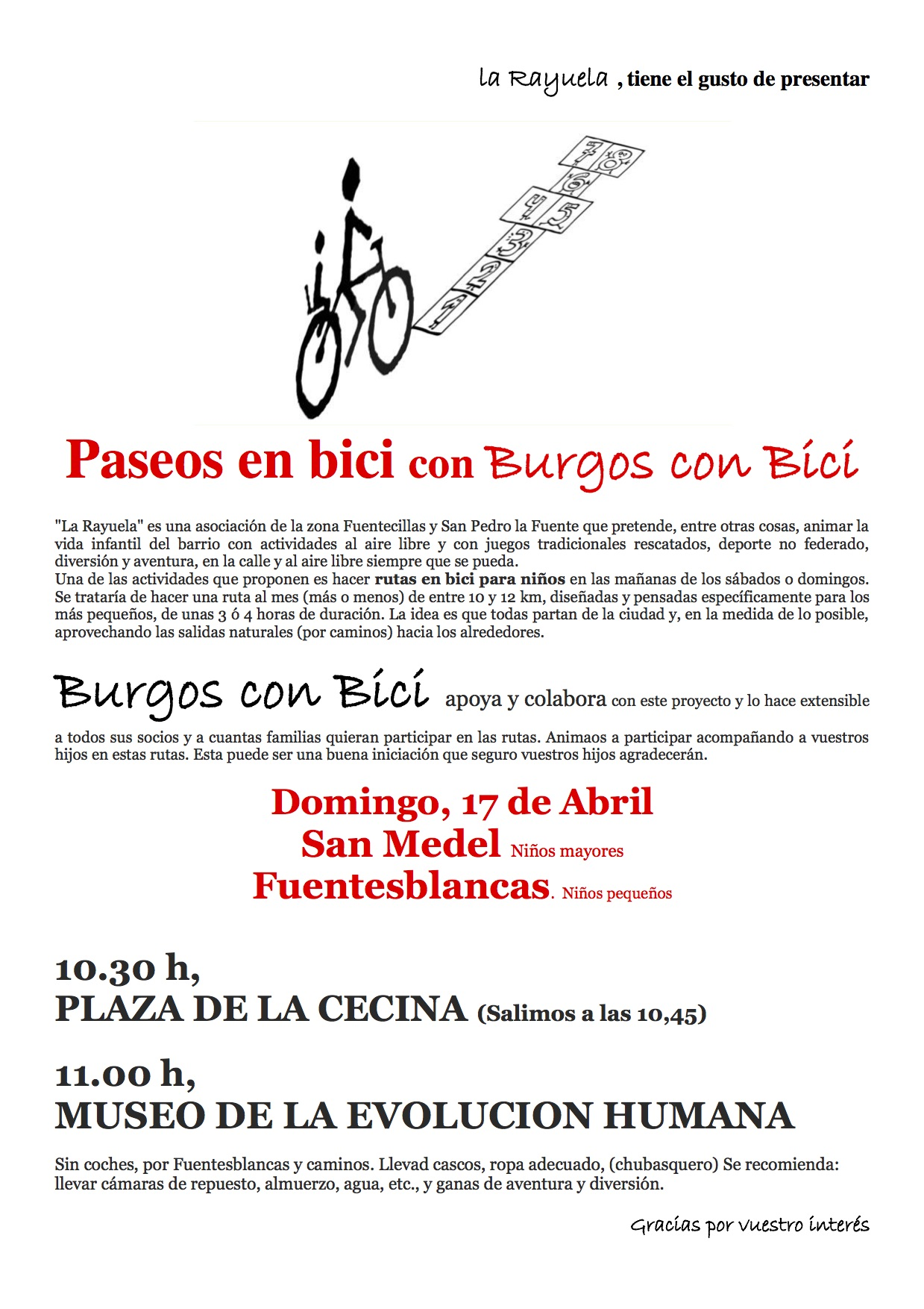Cartel de la  III Ruta La Rayuela BCB. San Medel