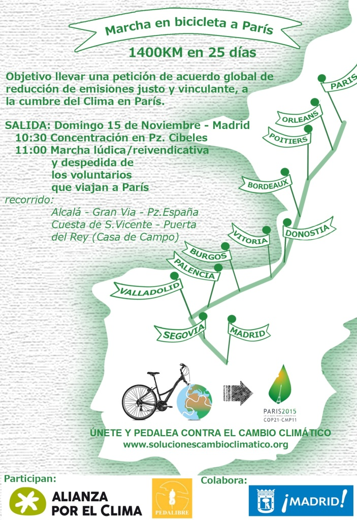 Mapa marcha a París en bici