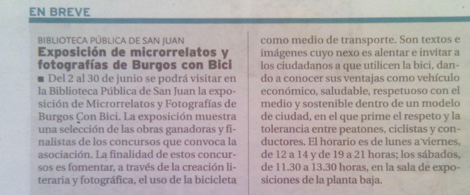 Anuncio de la exposición en el Diario de Burgos