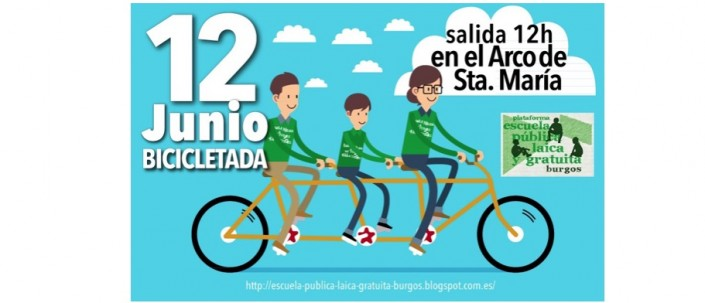Cartel Bicicletada escuela pública