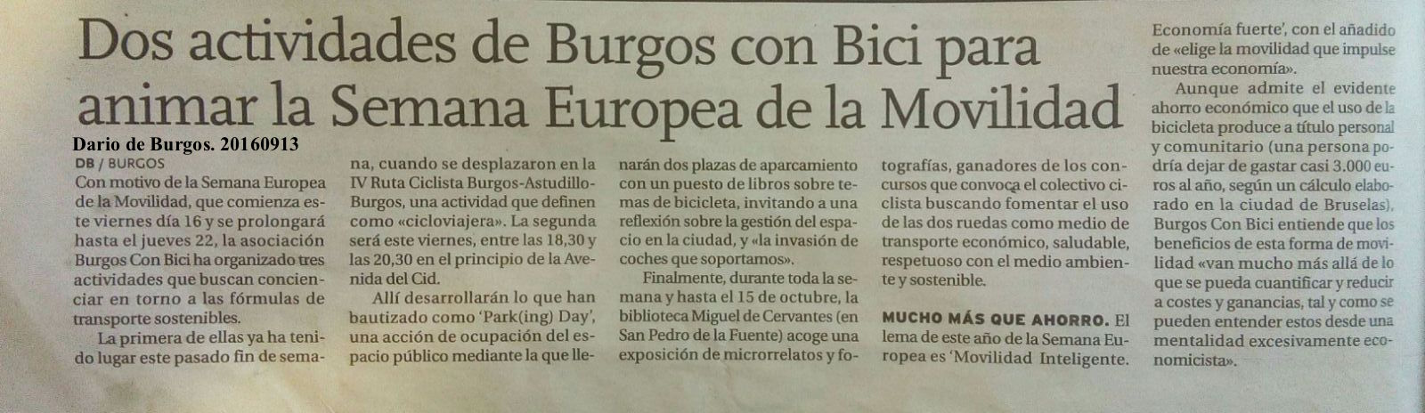 SEM BCB en Diario de Burgos