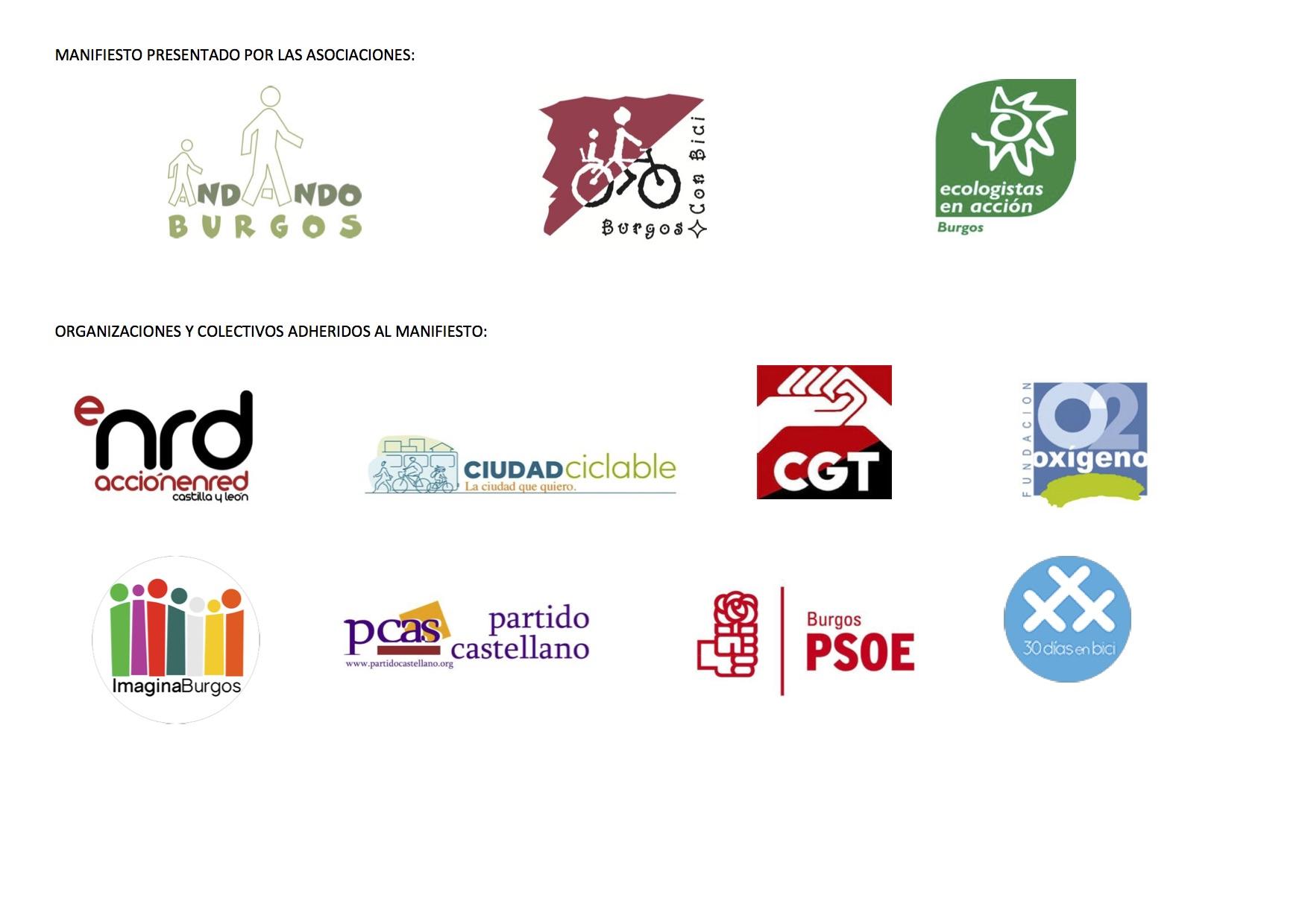 Logos de organizaciones que se adhieren al manifiesto
