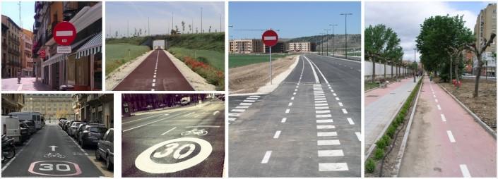 collage de fotos de vías ciclistas
