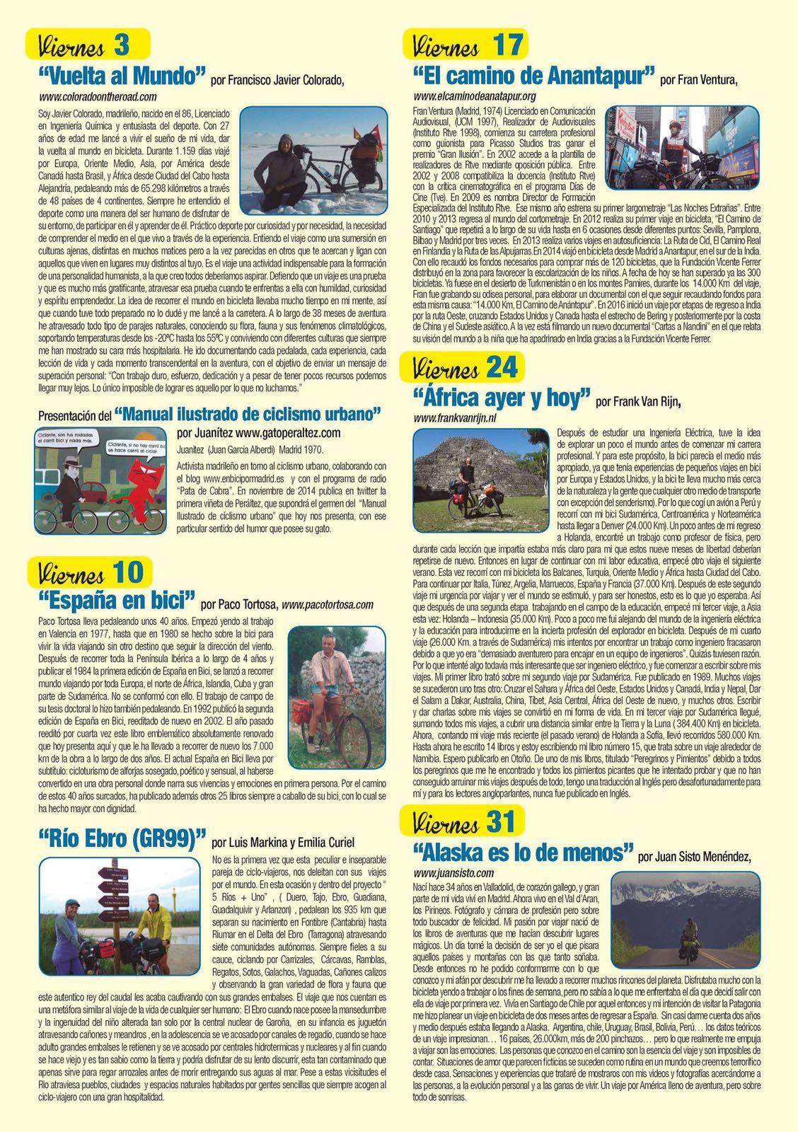 Triptico XXI Jornadas el mundo en bicicleta