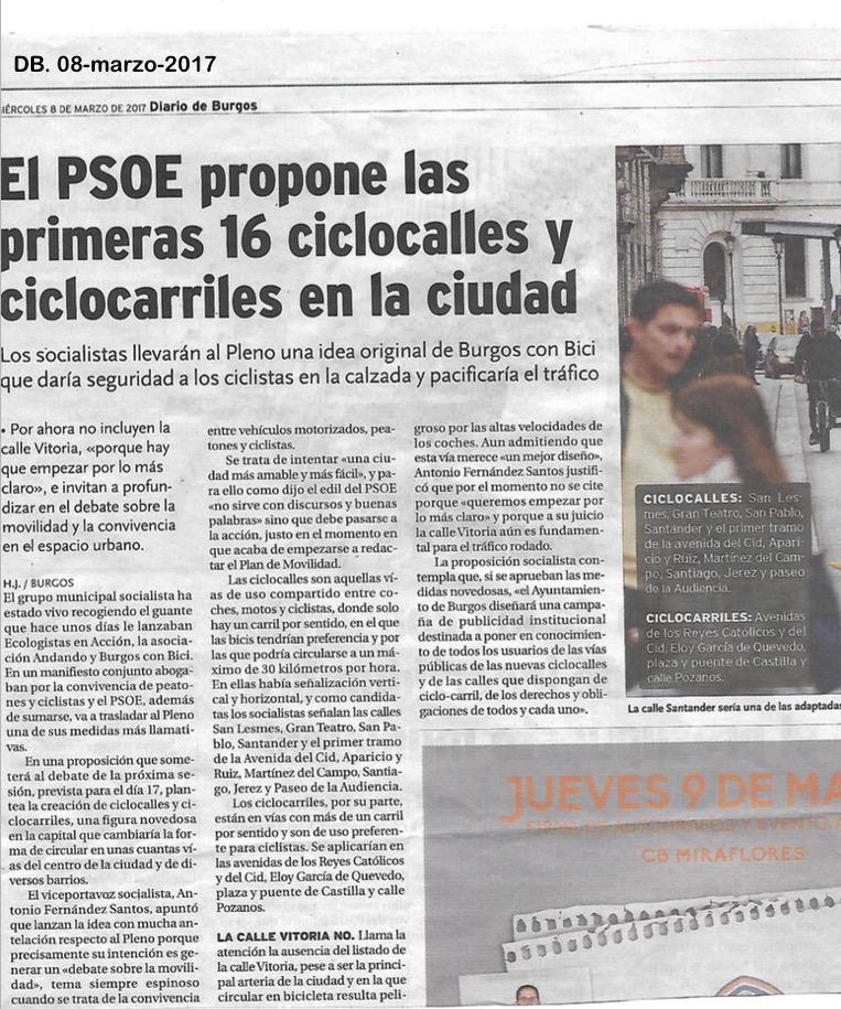 Noticia en Diario de Burgos sobre la proposición del POSE de ciclocalles y cicloarriles