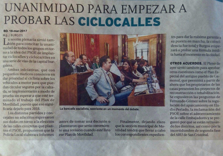 Noticia Diario de Burgos. Unanimidad ciclocalles y ciclocarriles