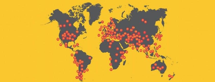 Mapamundi con destinos señalados