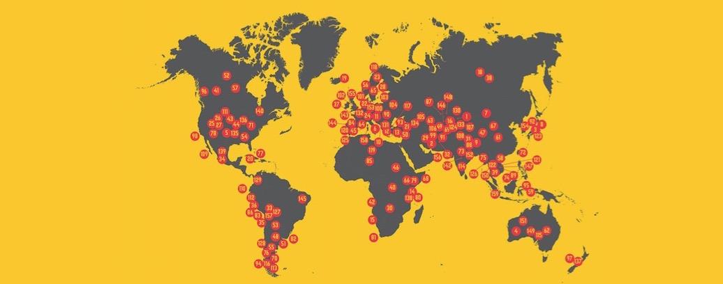 Mapamundi con destinos favoritos marcados con puntos