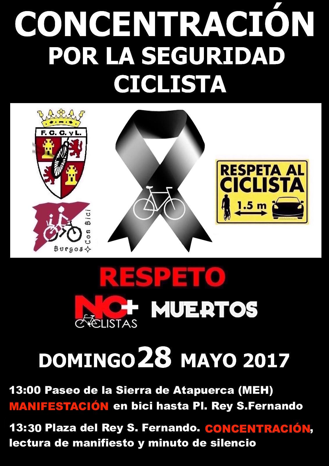 Cartel. Concentración y manifestación. No más ciclistas muertos. Domingo 28 mayo 2017 a las 13:00