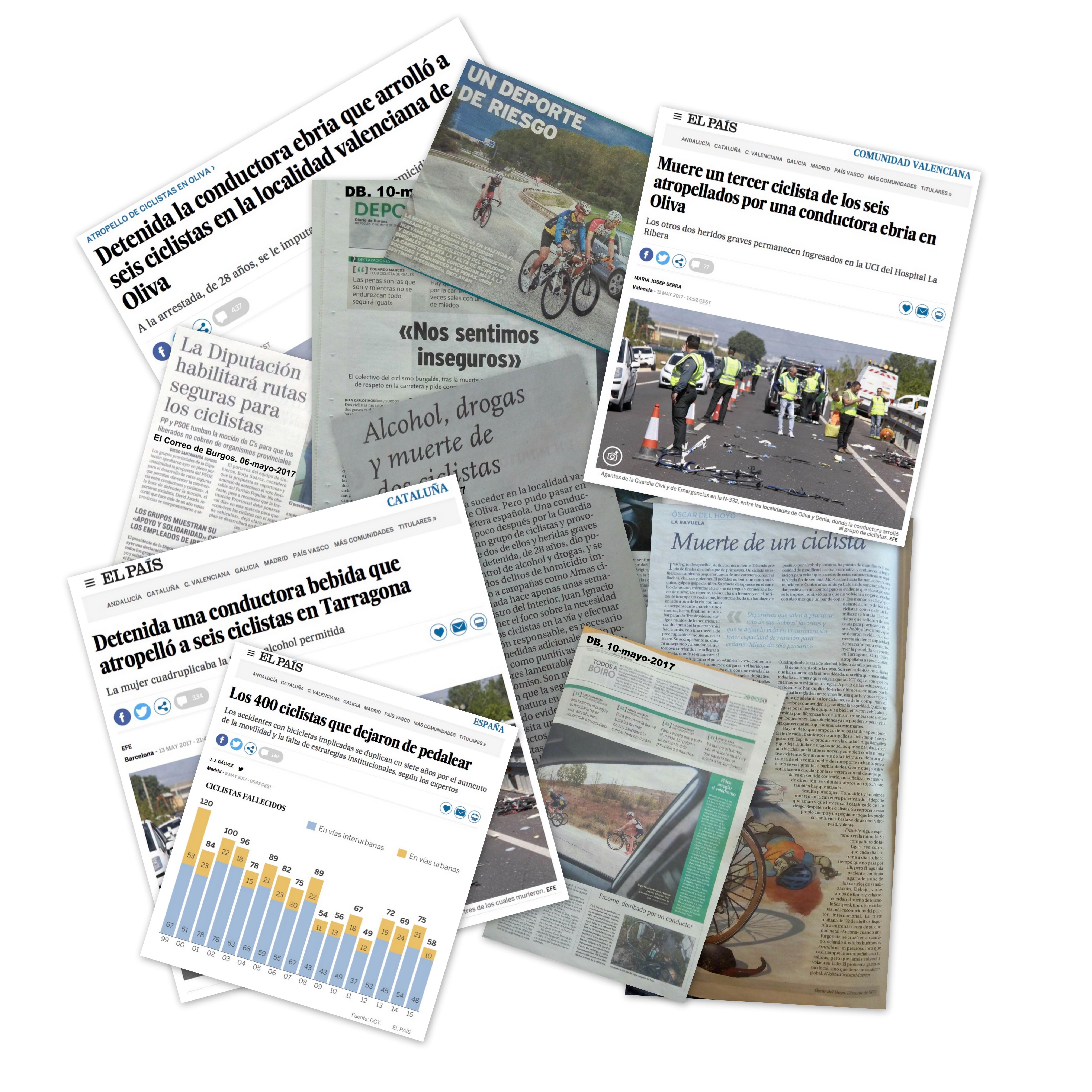 Collage de noticias de ciclistas muertos por atropello últimos meses