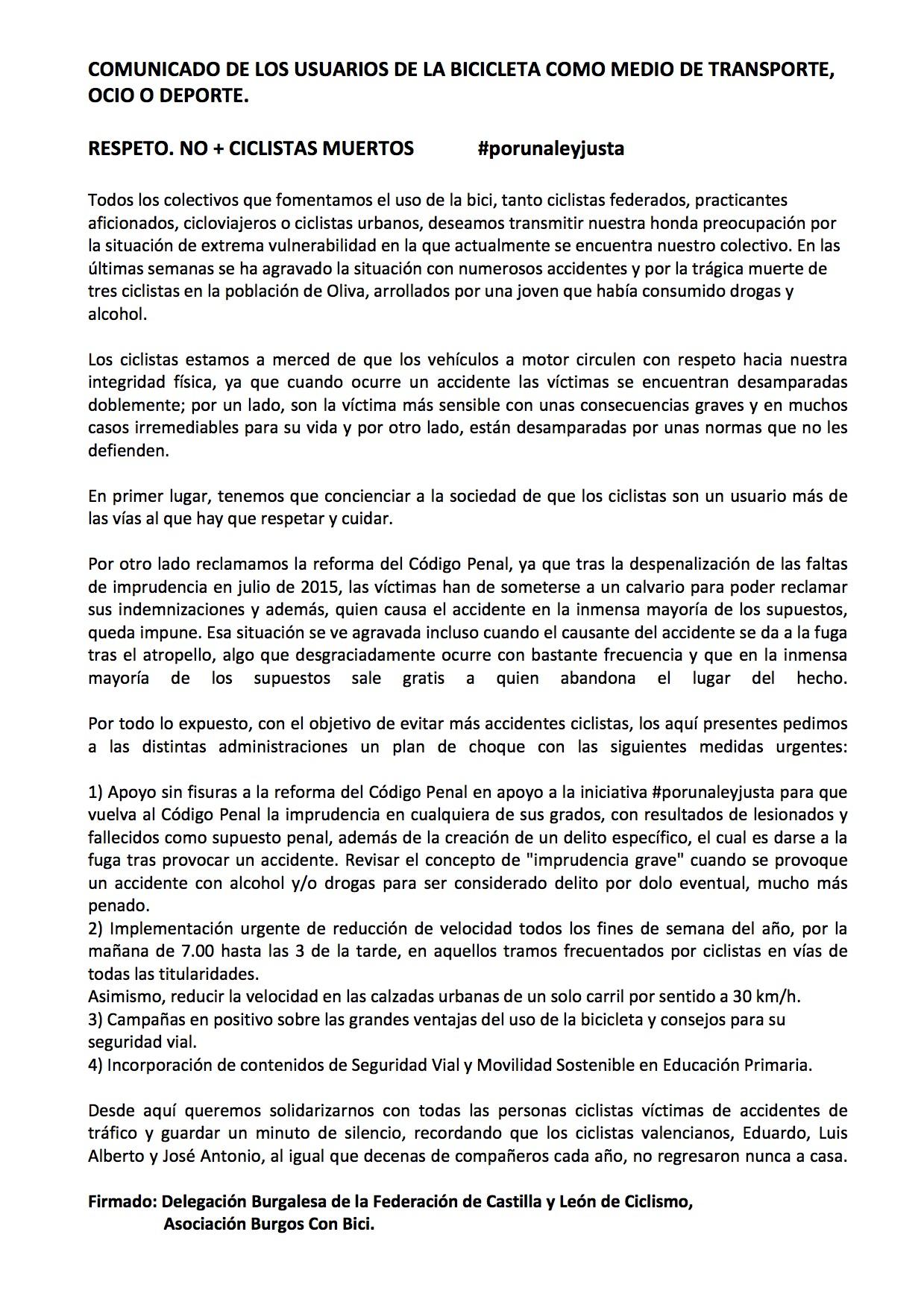 Manifiesto No más ciclistas muertos. Por una Ley Justa