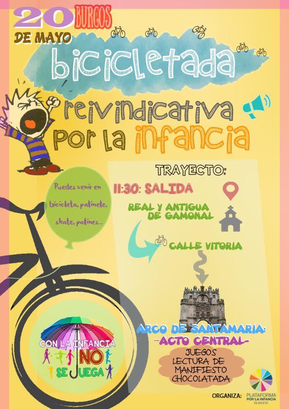 Cartel de bicicletada de la plataforma por la infancia de Burgos
