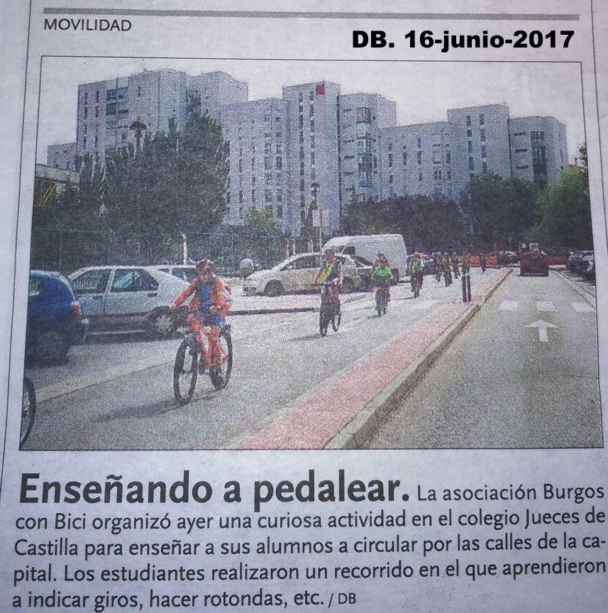 Noticia en Diario de Burgos de escuela de educación vial de burgos Con Bici