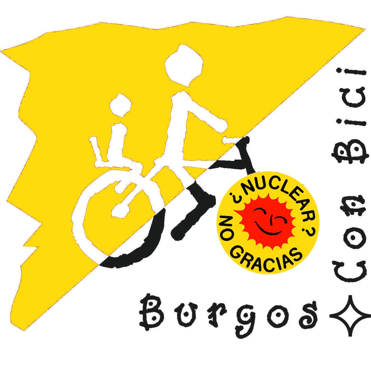 Logotipo burgos Con Bici amarillo. Nuclear no, gracias