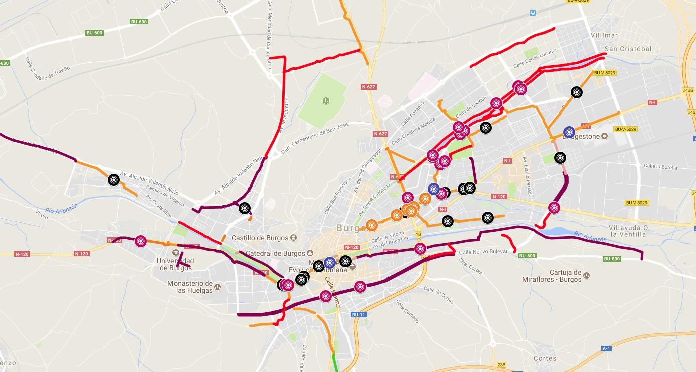Mapa de puntos peligrosos para la circulación ciclista en Burgos