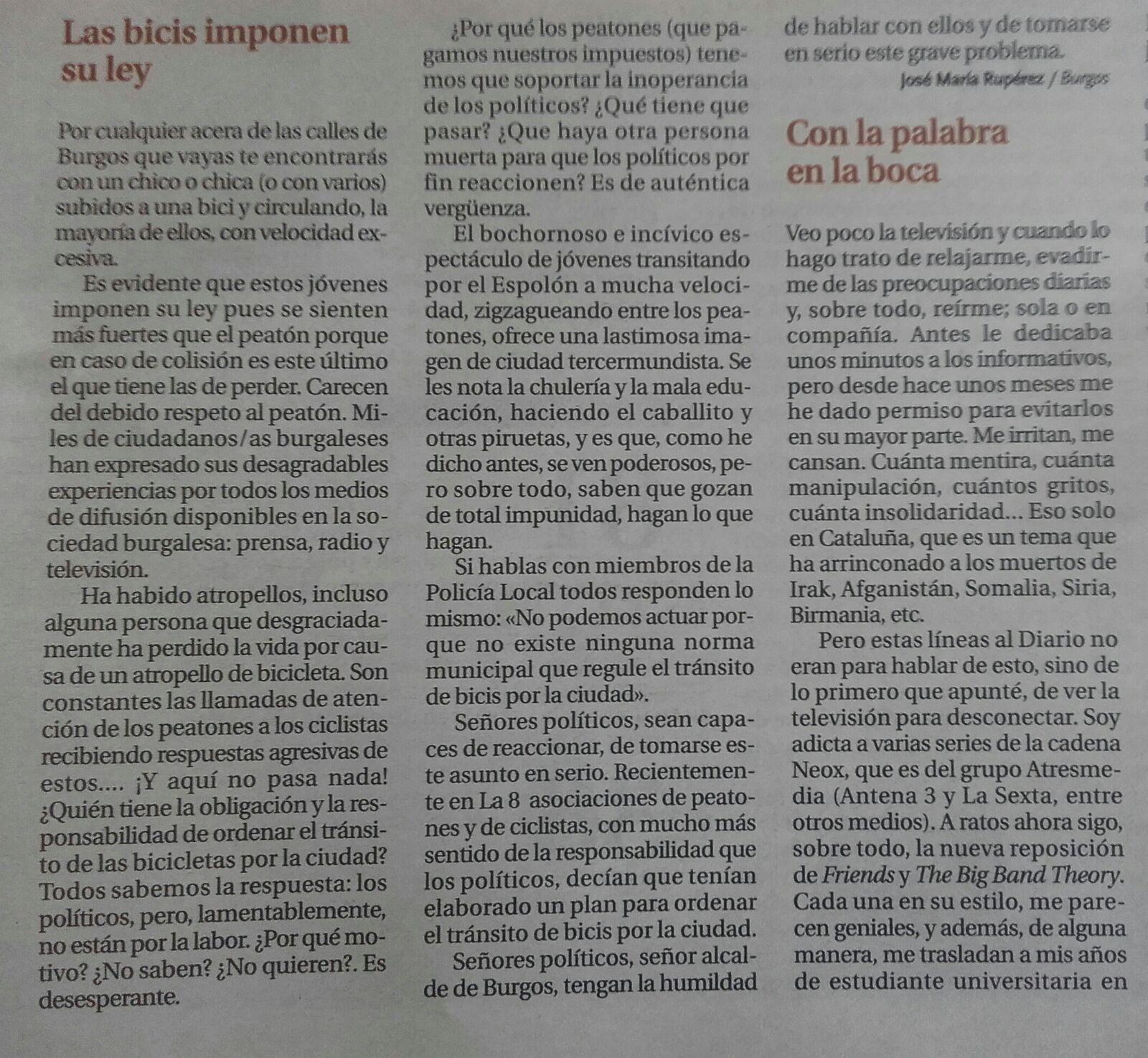 Noticia en Diario de Burgos. Carta al Director. Las bicis imponen su ley