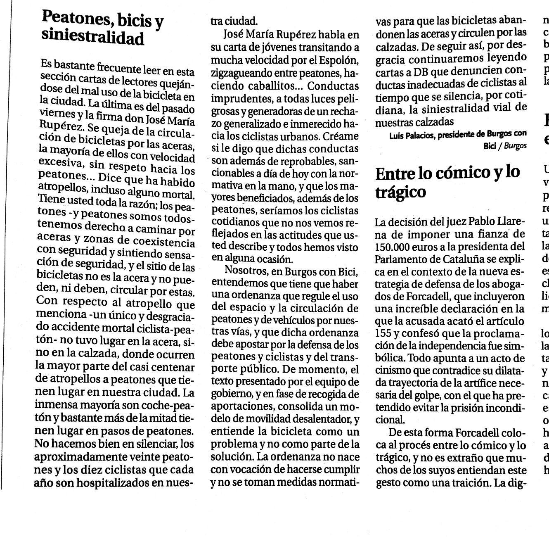 Recorte de noticia, carta al director. del Diario de Burgos del 17/11/2017. Peatones, bics y siniestralidad. Carta al D.