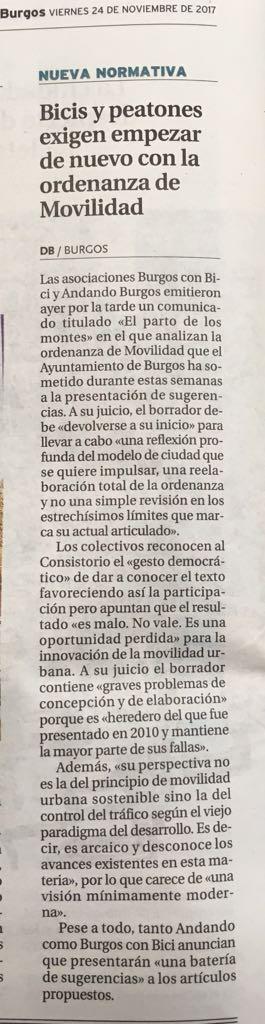Noticia en Diario de Burgos sobre el Comunicado conjunto