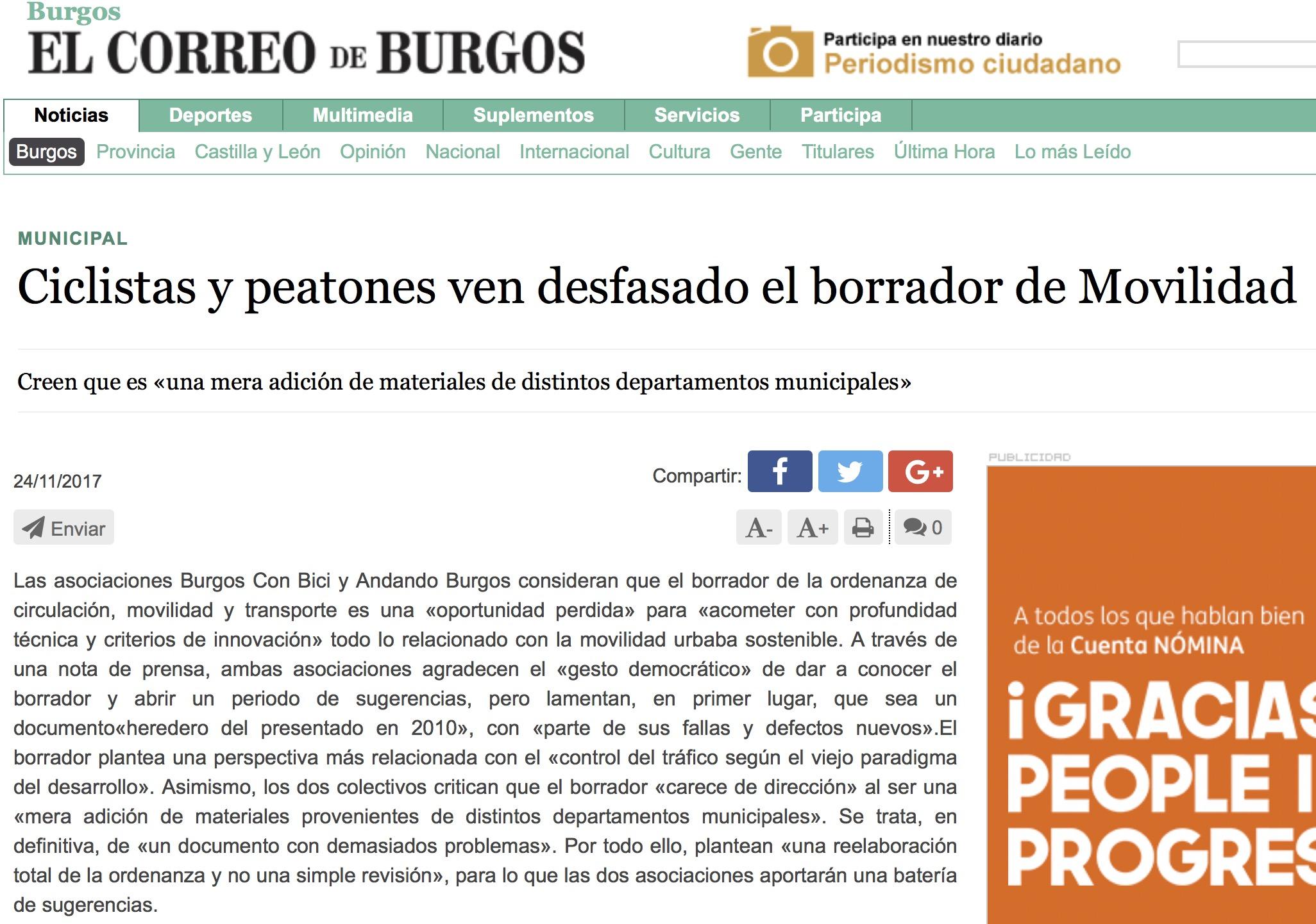 Noticia en el correo de Burgos sobre el comunicado conjunto