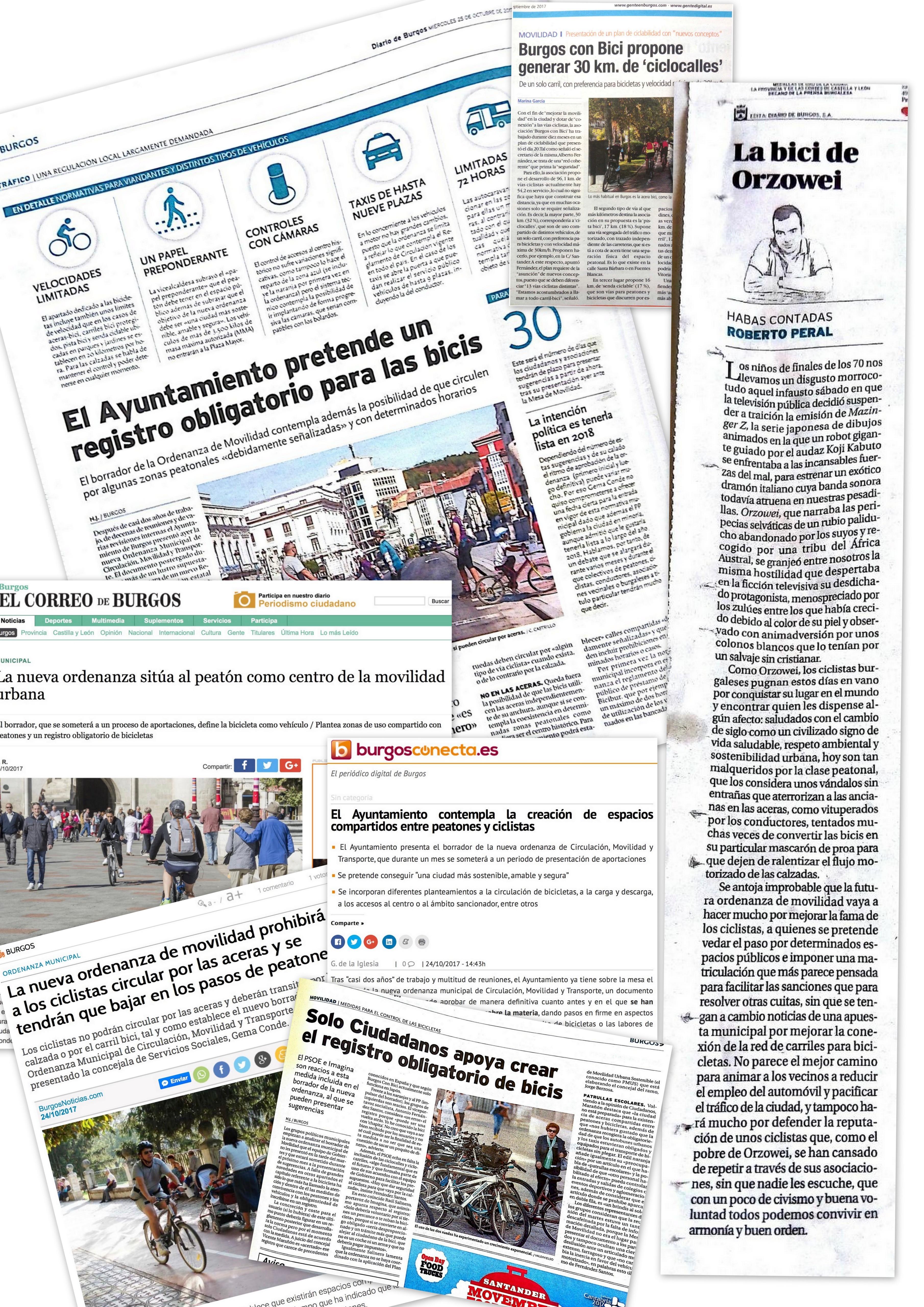 Collage con algunas noticias sobre el borrador de la ordenanza de movilidad de Burgos. Octubre de 2017