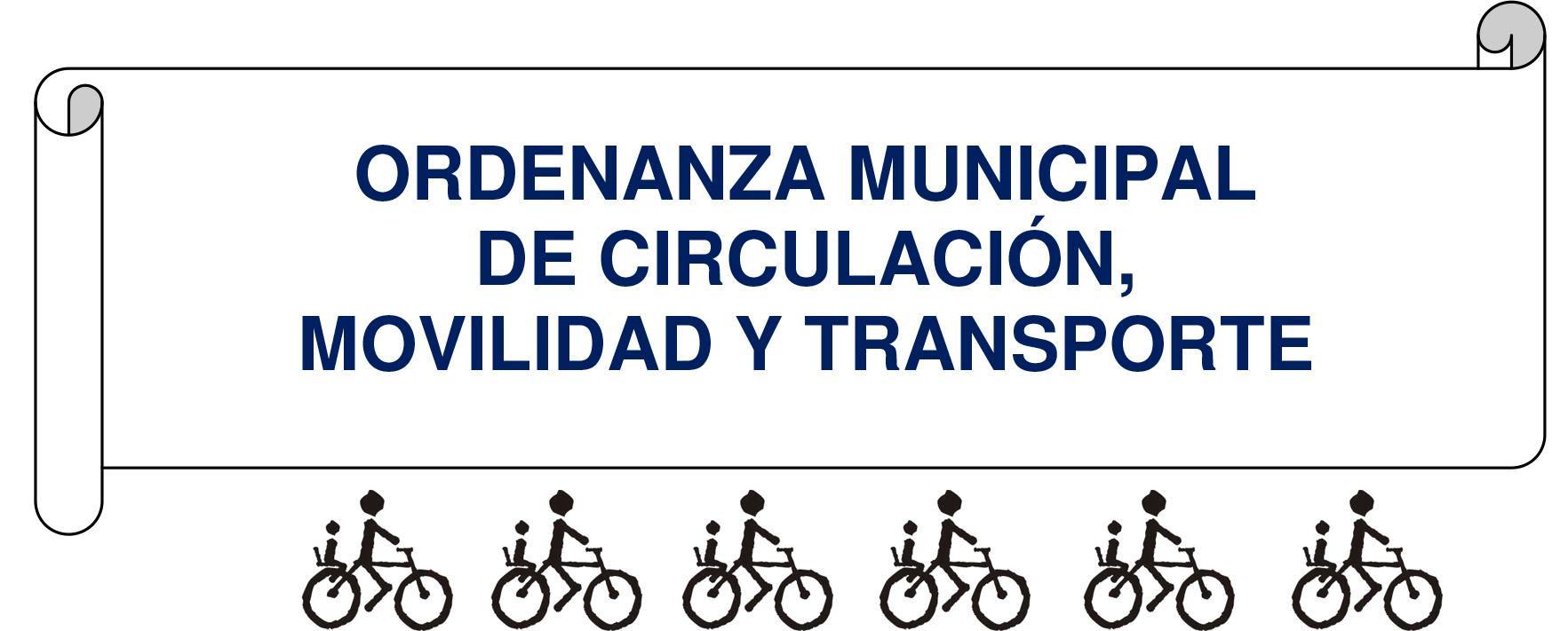 Portada del borrador de la ordenanza rodeada de iconos de bicicletas