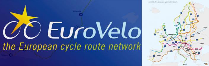 Logo de Eurovelo y mapa de vías ciclistas por Europa