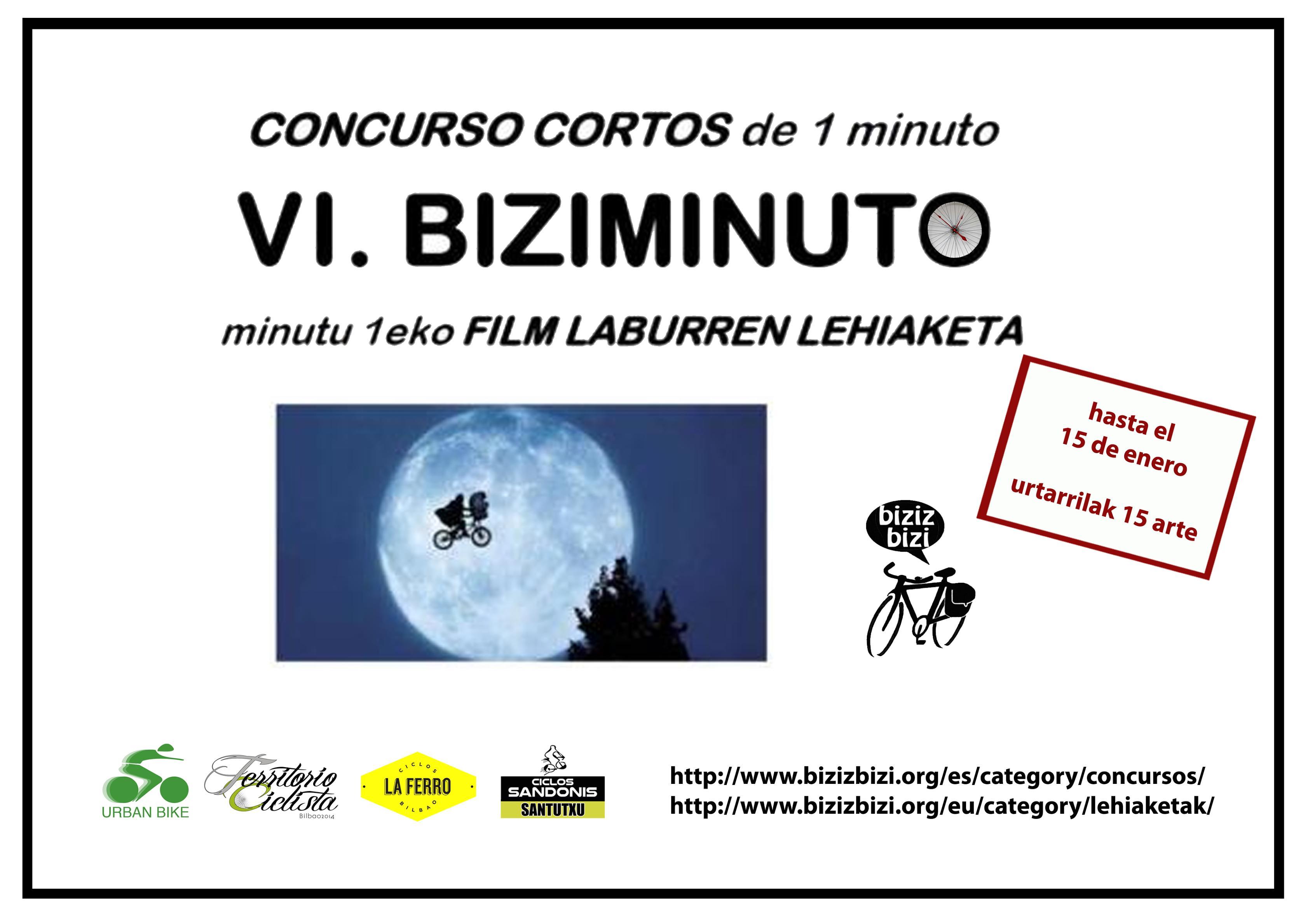 Cartel VI Biziminuto. Concurso de cortes de q minuto. Tema bicicleta