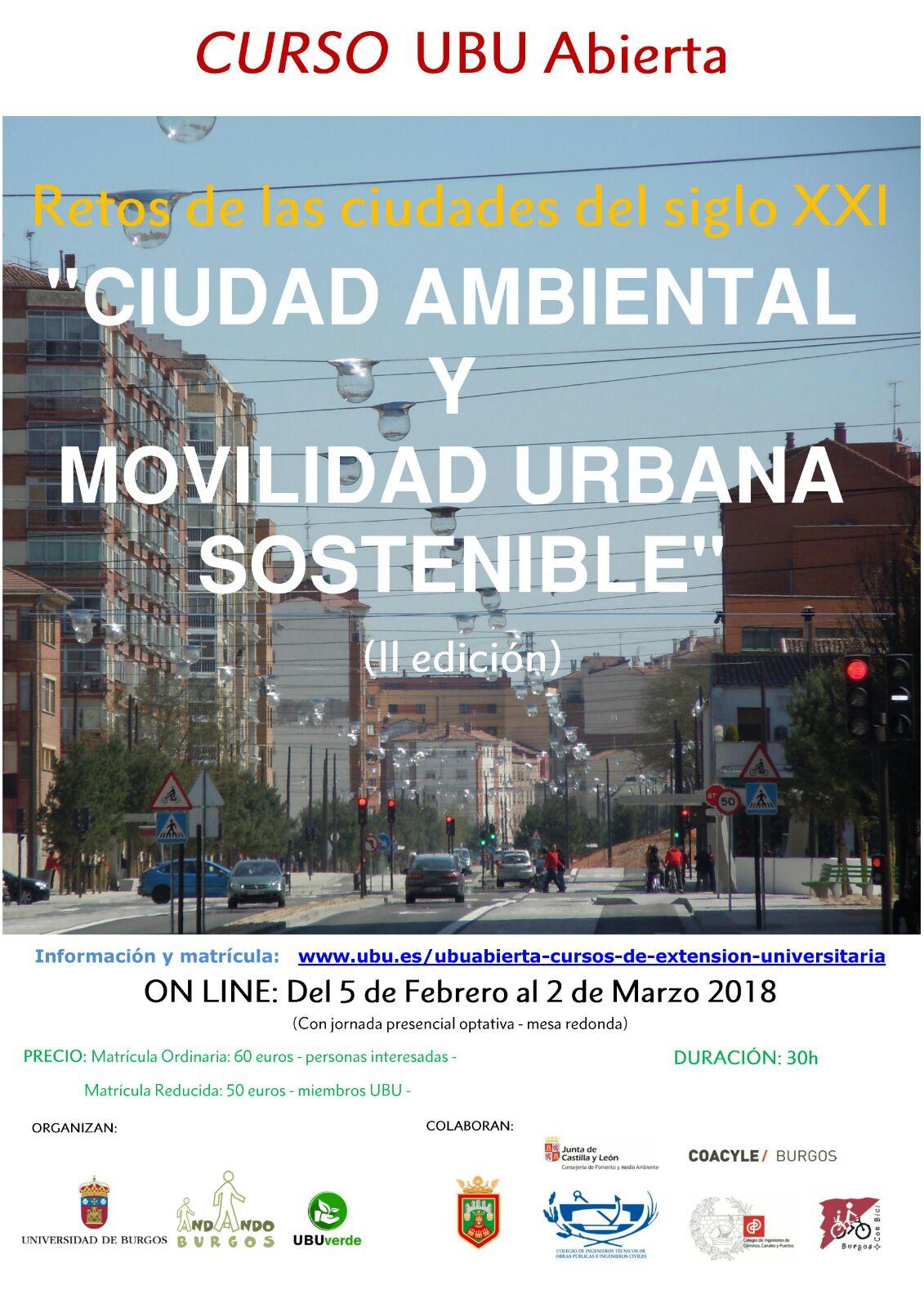 Cartel de Curso UBU Online sobre ciudad ambiental y movilidad sostenible. Imagen del bulevar de burgos con trafico