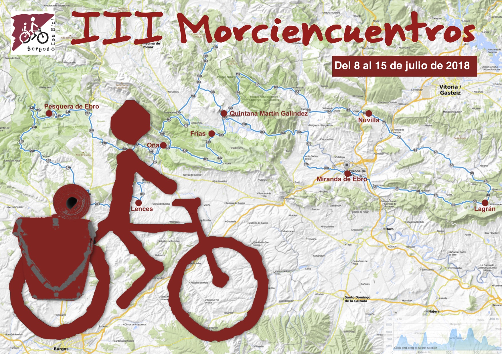 Bicicleta con alforjas y ruta de los III morciencuentros en mapa por el norte de la provincia de Burgos