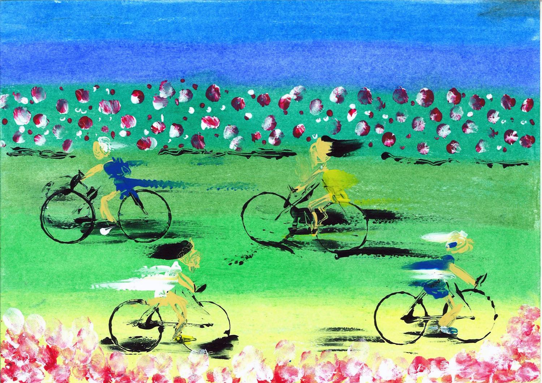 Varios niños en bici por campo de flores, dejando estelas por la velocidad