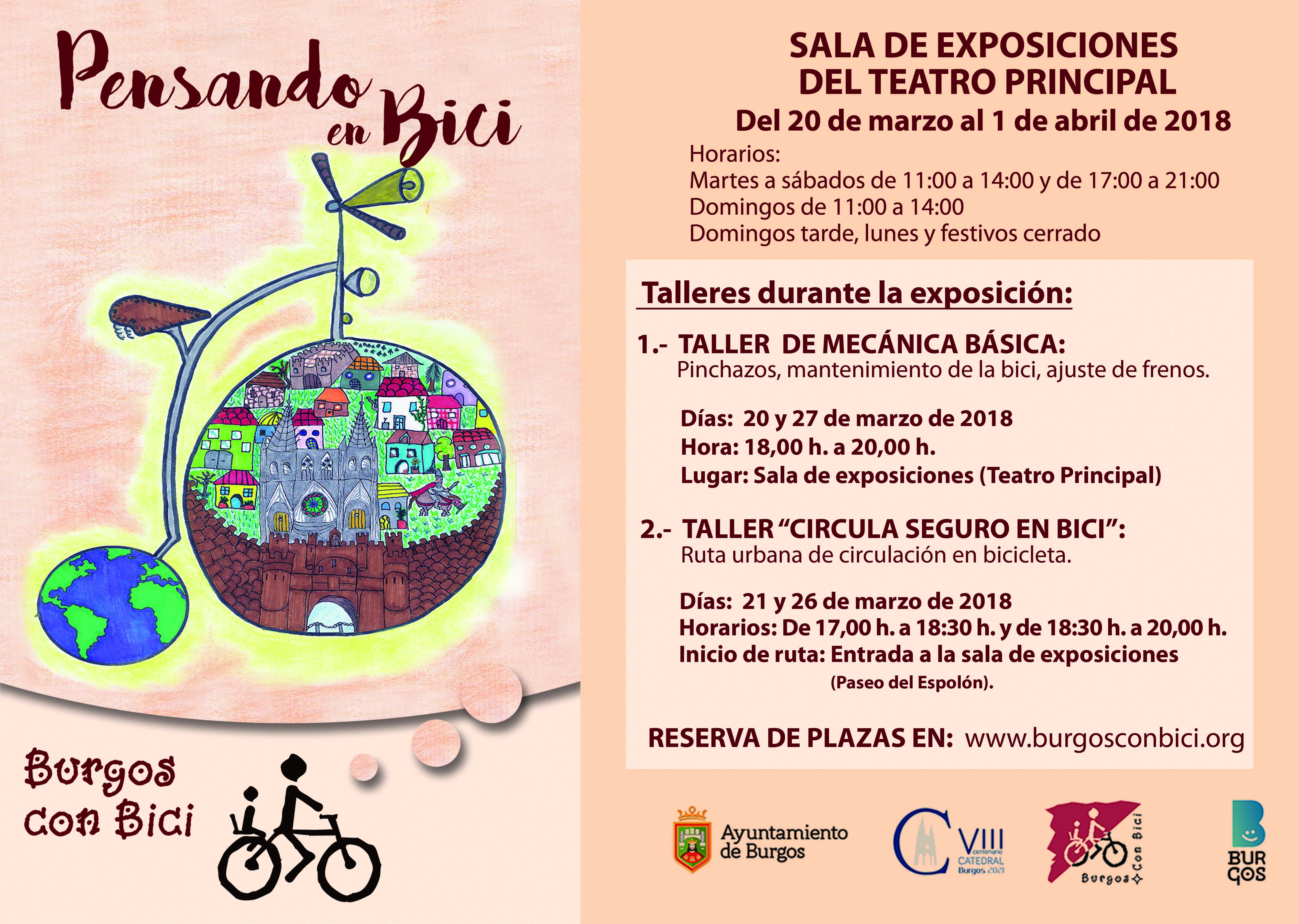 Cartel e información de fechas de exposición Pensando en bici y talleres de mecánica y de circulación segura en bici