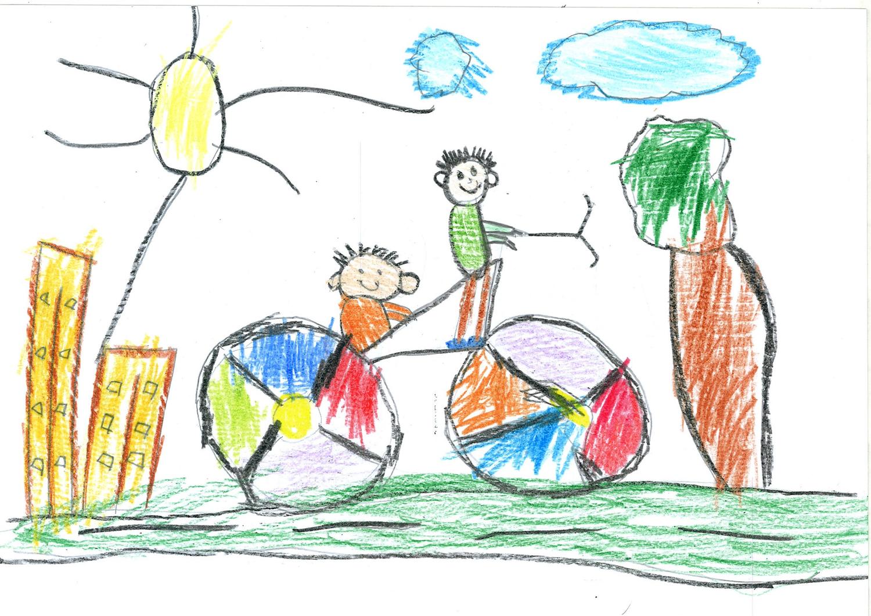 Bici colorida con padre e hijo