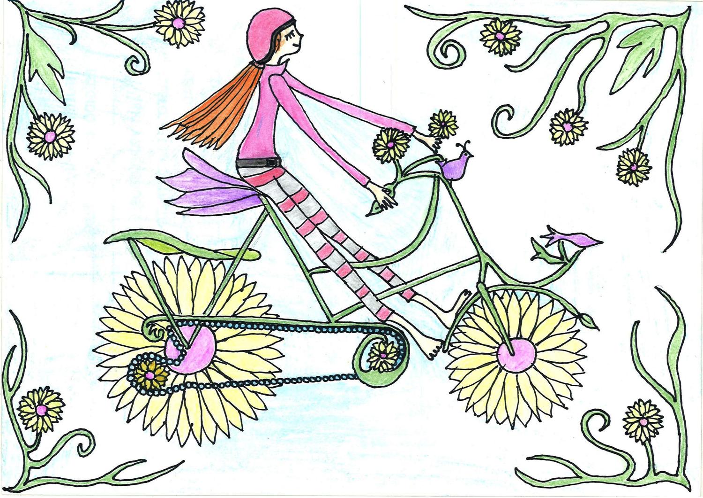 Niña en bici con ruedas de flores en escena fantástica
