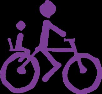 Logo BCB morado solo bici con niño