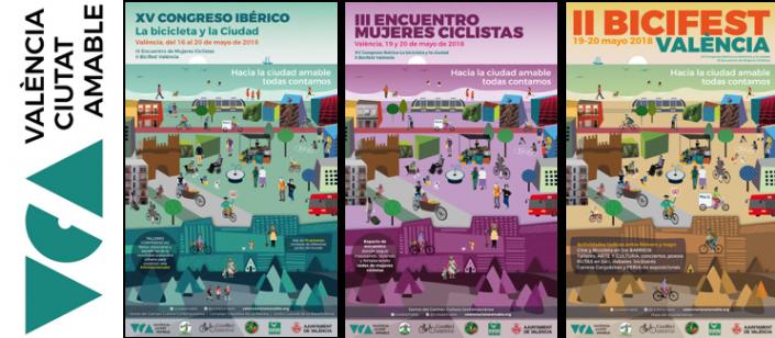 Tres carteles (1) XV Congreso ibérico la bicicleta y la ciudad. (2) III Encuentro de mujeres ciclistas y (3) II Bicifest Valencia