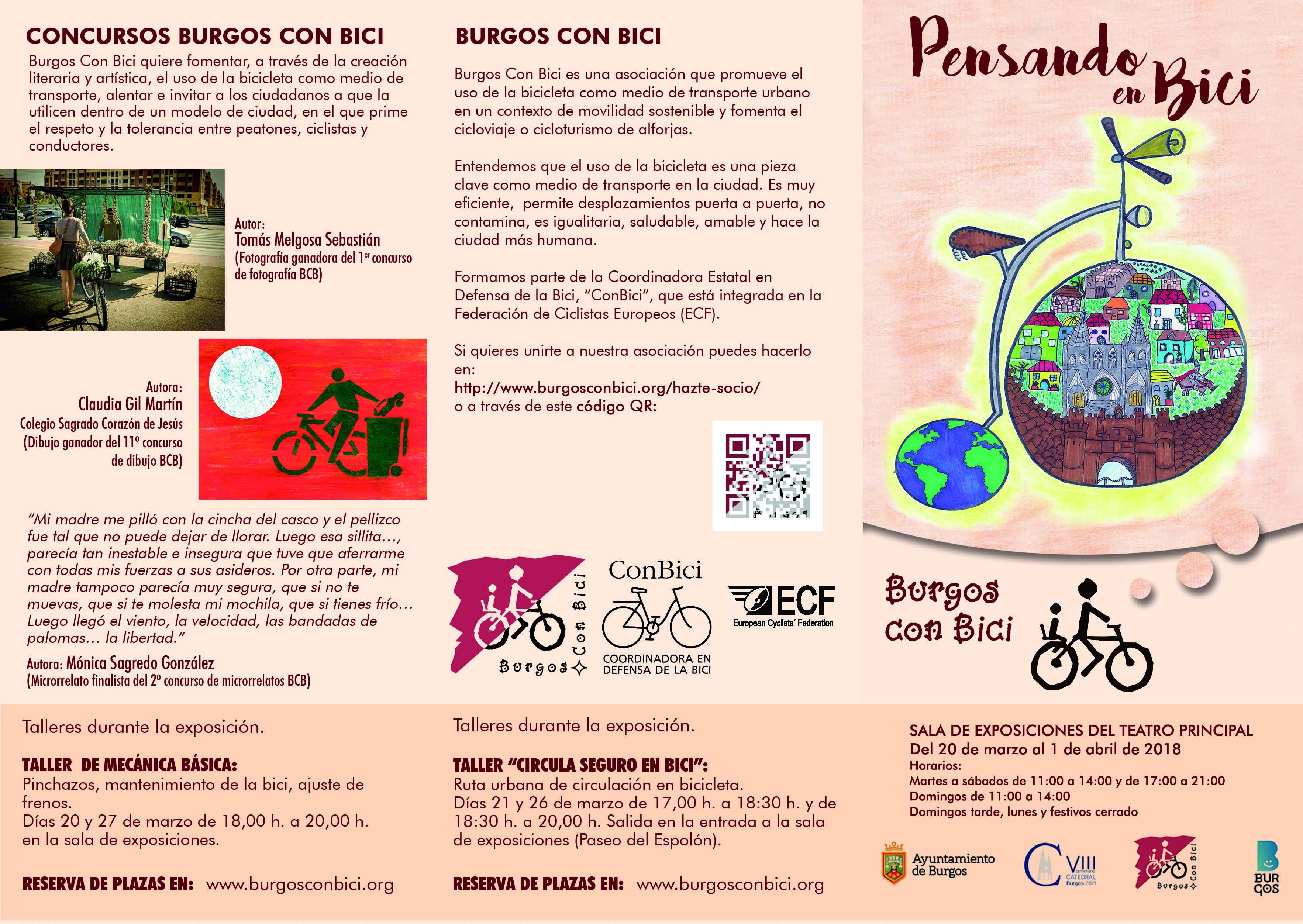 Portada y dos últimas páginas del tríptico informativo de la exposición Pensando en bici