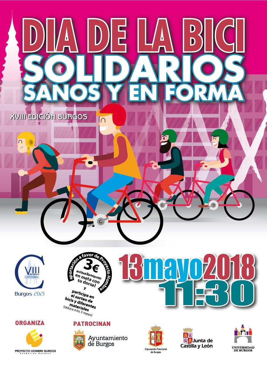 Cartel. Solidarios, sanos y en forma. 13 de mayo de 2018