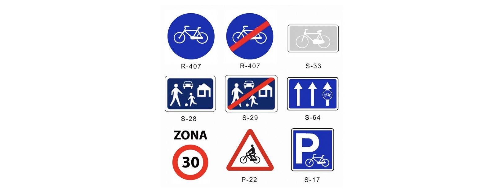 Señales tráfico ciclista