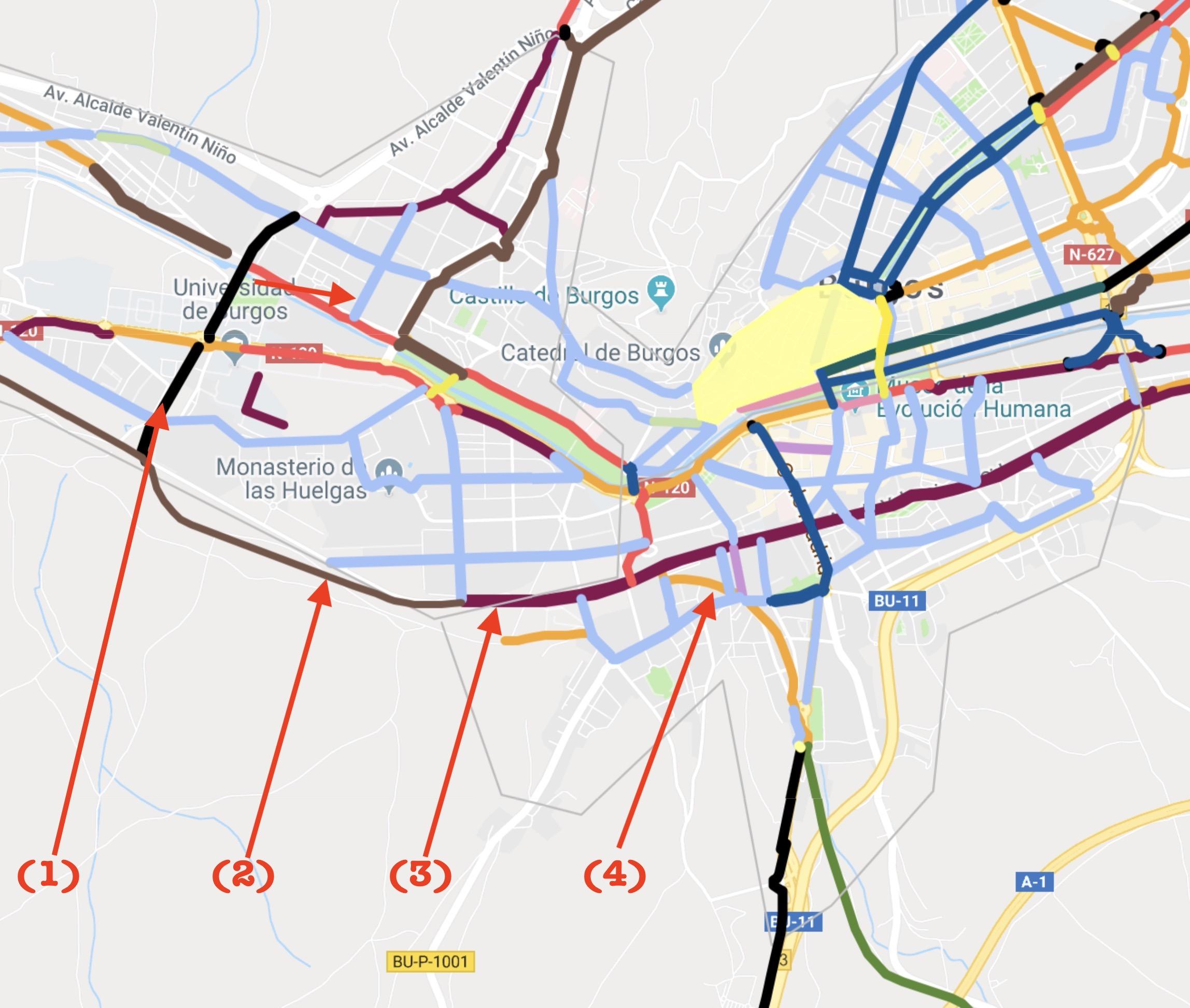 Mapa de vías ciclistas propuestas para burgos donde se marcan las que conectarían en la ciudad los dos tramos de la vía verde Santander Mediterráneo