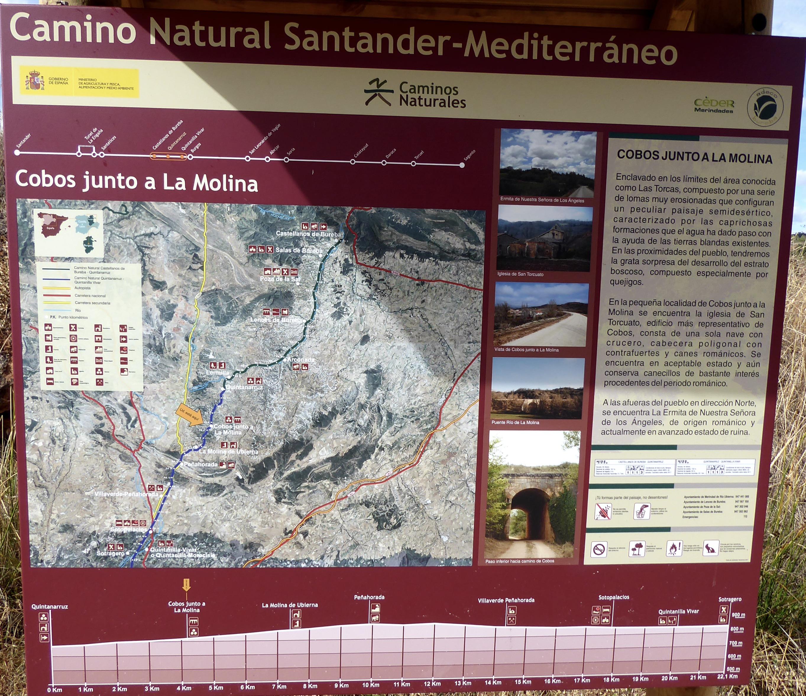 Panel informativo en una punto de la vía verde Santander Mediterráneo, a su paso por Cobos junto a la Molina. Plano, perfil, etc.