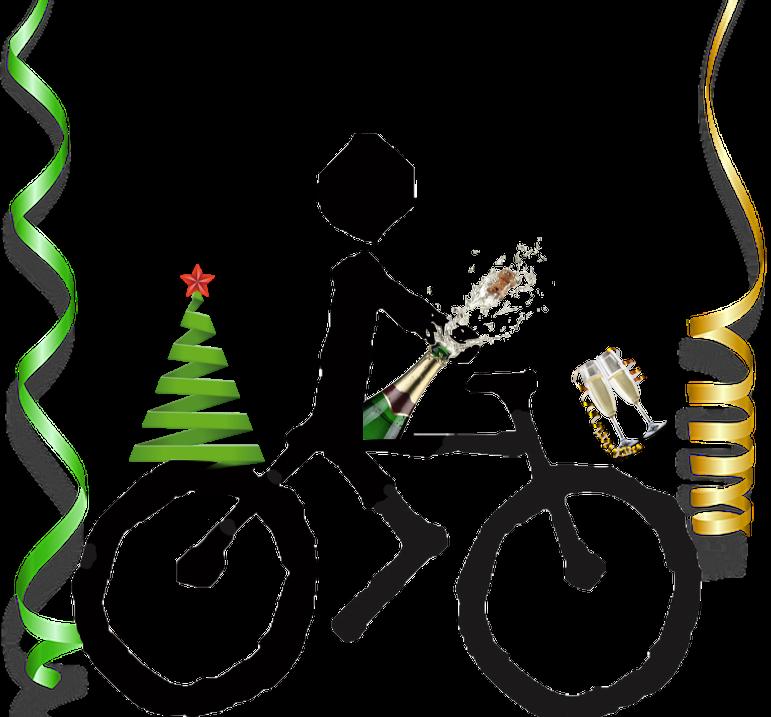 Logo BCB con decoración navideña y de brindis con champagne