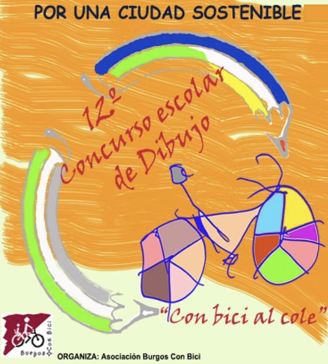 Cartel convocatoria de concurso de dibujo escolar con bici al cole