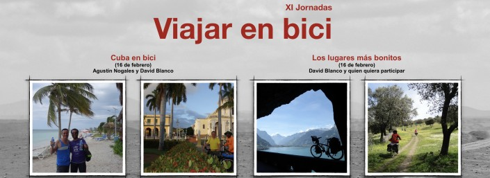 Fragmento del cartel de las jornadas con 4 fotos de lugares visitados en el viaje a Cuba y otros