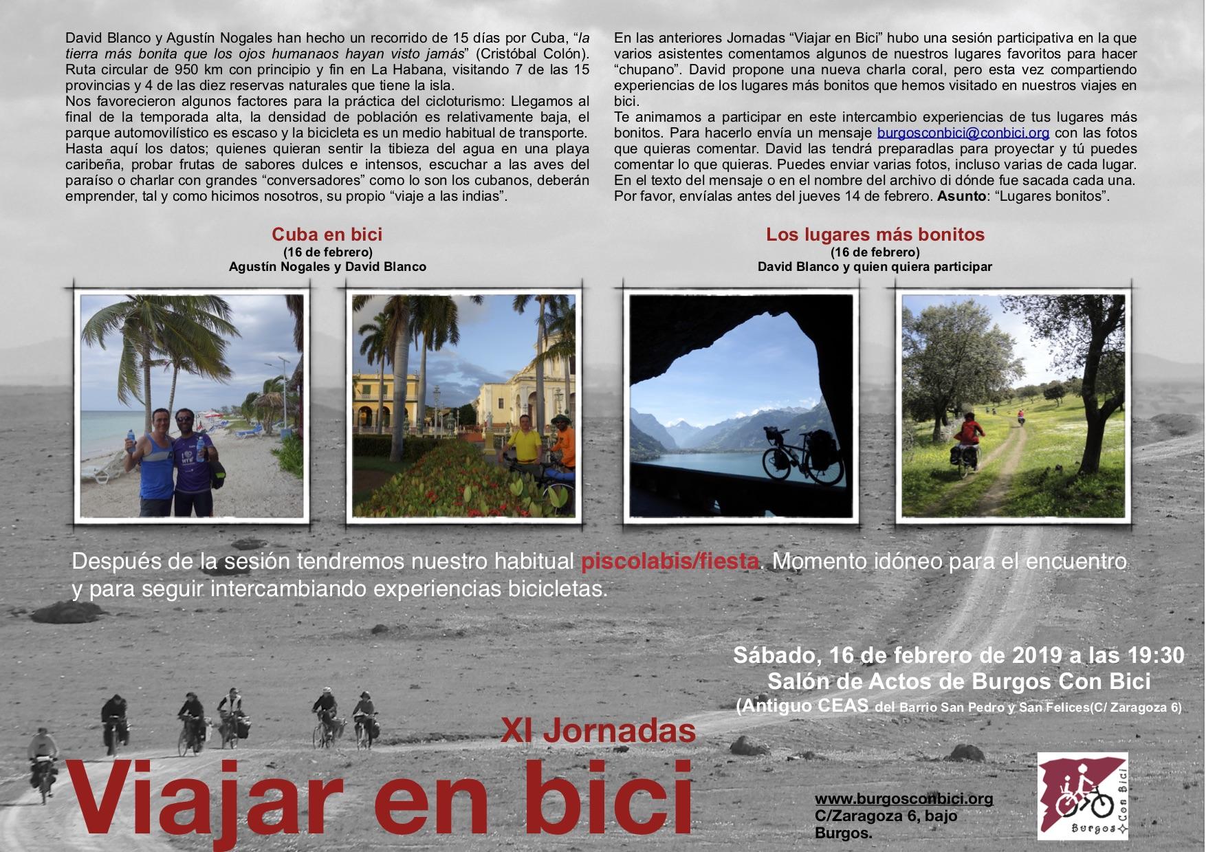 Cartel con programa y algunas fotos de las XI Jornadas viajar en bici. Día 16 de febrero de 2019. Cuba en bici y Los lugares más bonitos