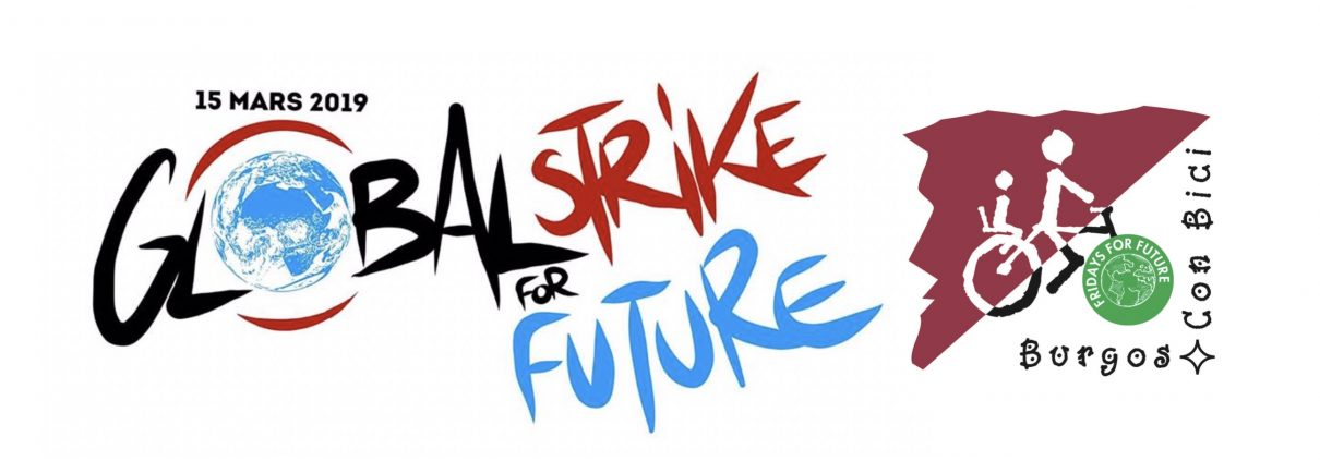 Logo de la Global Strike for Future y logo de Burgos Con Bic el de Fridays for future como rueda delantera