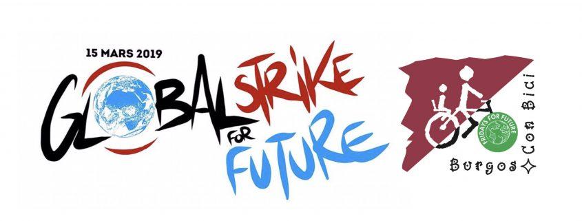 Logo de la Global Strike for Future y logo de Burgos Con Bic el de Fridays for future como rueda delantera